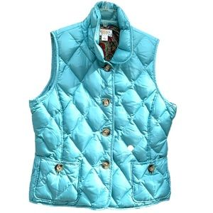 Talbots Duck Down Quilted Button Up Puffer Vest with Collar Size LP